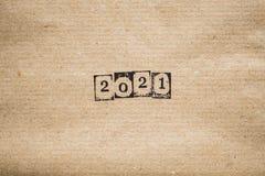 L'année 2021 sur le papier ordinaire Photos libres de droits