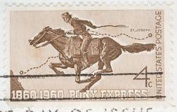 L'annata 1960 ha annullato espresso di cavallino del bollo degli Stati Uniti Immagini Stock Libere da Diritti