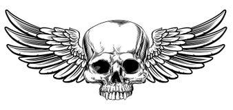 L'annata alata del cranio ha inciso lo stile dell'intaglio in legno illustrazione di stock