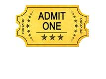 L'annata ammette un biglietto dell'entrata fotografie stock libere da diritti