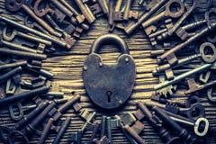 L'annata chiude le chiavi a chiave di nad Fotografia Stock Libera da Diritti