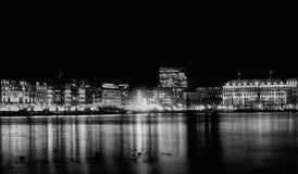 L'annata di festa di bw della casa della città di Amburgo alloggia il natale fotografia stock libera da diritti