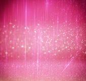L'annata di scintillio accende il fondo argento leggero e rosa defocused Fotografie Stock Libere da Diritti