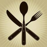L'annata ha disegnato il coltello, la forchetta ed il cucchiaio/ristorante   Fotografia Stock Libera da Diritti