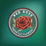 L'annata fiorisce il logo sul fondo di verde di pendenza Immagini Stock