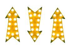 L'annata gialla su e giù la freccia firma con le lampadine contro un fondo bianco Immagine Stock