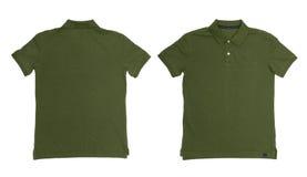 L'annata ha attenuato il colore verde Polo Shirt con fondo bianco immagine stock libera da diritti
