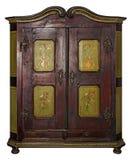 L'annata ha dipinto il guardaroba di legno isolato con il percorso di ritaglio su w immagini stock