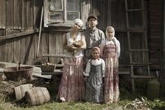 L'annata ha disegnato il ritratto della famiglia Fotografia Stock Libera da Diritti