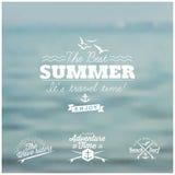L'annata ha disegnato la carta di estate - insieme della a calligrafica Immagine Stock