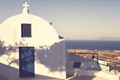 L'annata ha disegnato la chiesa di Santorini Fotografia Stock Libera da Diritti