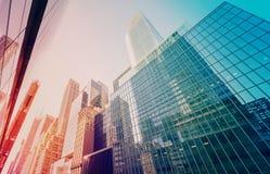L'annata ha tonificato i grattacieli di Manhattan al tramonto Fotografia Stock Libera da Diritti