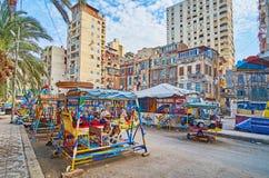 L'annata oscilla nel ` s Luna Park, Egitto di Alessandria d'Egitto Fotografia Stock