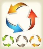 L'annata ricicla le frecce Fotografia Stock
