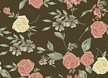 L'annata senza cuciture dell'acquerello è aumentato fondo del fiore illustrazione di stock