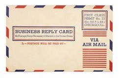 L'annata Stati Uniti spedice la scheda per posta aerea di risposta di affari Immagini Stock Libere da Diritti