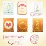 L'annata timbra i vettori dei biglietti di S. Valentino di nozze della posta di amore Immagini Stock Libere da Diritti