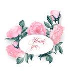 L'annata vi ringrazia cardare con la fioritura è aumentato Illustrazione di vettore Fotografia Stock