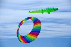 L'anneau coloré volant au-dessus de la plage dans l'océan étaye Photo stock