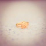 L'anneau d'or d'amour a mis le style dessus rectifié de vintage Photos stock