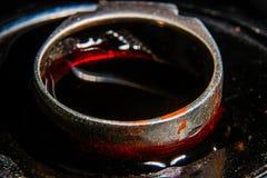L'anneau dans le sang est macro Photos libres de droits