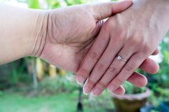 L'anneau de prise de main d'amour marient le concept de doigt de mariage Photographie stock libre de droits