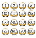 L'anniversaire Badges l'or et la couleur noire Photo stock