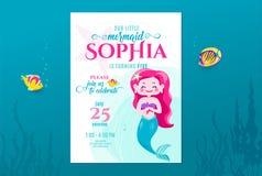 L'anniversaire de sirène mignon invitent le design de carte pour la petite princesse Anniversaire de partie d'enfants Invitation  illustration de vecteur