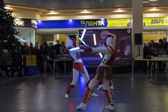 L'anniversaire du centre commercial, du concert et de la danse, prix Image stock
