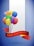 l'anniversario felice balloons le carte Fotografia Stock