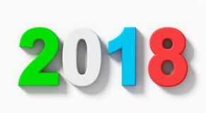 L'anno 2018 3d variopinto numera con ombra isolata su bianco- o Immagini Stock