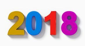 L'anno 2018 3d variopinto numera con ombra isolata su bianco- o Immagine Stock