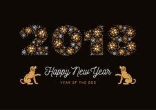 L'anno del cane, cane cinese dello zodiaco, numero 2018 ha fatto dei fiocchi di neve, cani dorati Carta del nuovo anno, manifesto Immagine Stock