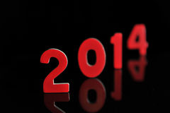 L'anno 2014 nei numeri di legno insieme Immagini Stock