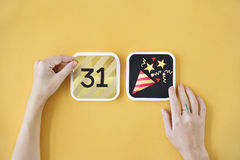 L'annuale del nuovo anno celebra il concetto di evento di dicembre Fotografie Stock Libere da Diritti