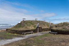 L`anse Aux Meadows Viking Village, National Historic Site, Newfoundland. L`anse Aux Meadows is a National Historic Site at the most northern tip of Newfoundland Stock Photo