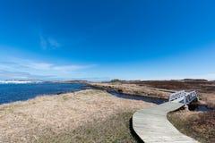 L ` anse Zusatzwiesen Viking Village, nationale historische Stätte, Neufundland lizenzfreie stockfotos