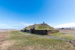 L `-ansehjälpängar Viking Village, nationell historisk plats, Newfoundland royaltyfri foto