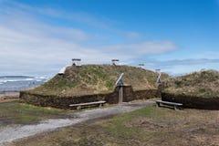 L `-ansehjälpängar Viking Village, nationell historisk plats, Newfoundland arkivfoto