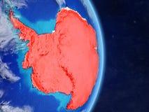 L'Antarctique sur terre de planète de planète avec des frontières de pays Surface et nuages extrêmement détaillés de planète illu illustration stock