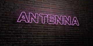 L'ANTENNA - insegna al neon realistica sul fondo del muro di mattoni - 3D ha reso l'immagine di riserva libera della sovranità Fotografia Stock