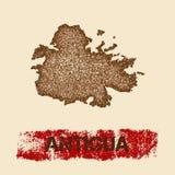 L'Antigua ha afflitto la mappa Immagini Stock