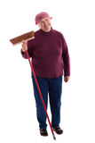 L'anziano scopa il pavimento Fotografia Stock Libera da Diritti