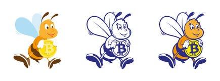 L'ape tiene il bitcoin Fotografie Stock