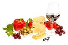 L'aperitivo delle frutta e delle verdure wine e formaggio. Fotografia Stock Libera da Diritti