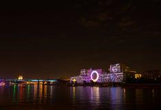 L'apertura del cerchio di festival di luce 2015 saluto Fuochi d'artificio immagine stock libera da diritti