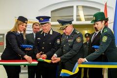 L'apertura del primo punto di contatto unito sul Ucraino-Hu Fotografia Stock Libera da Diritti