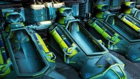 L'apertura delle capsule di cryo su un'astronave rappresentazione 3d illustrazione di stock