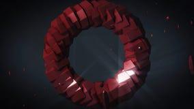 l'apesanteur Tore tournant sur le fond noir animation 3D géométrique générée par ordinateur Illustration d' illustration stock