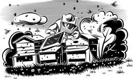 L'apiculteur prend soin de sa ruche illustration stock